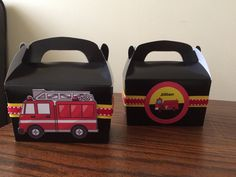 Fire Truck Favor Box- We can do any theme! by BellissimaParty on Etsy