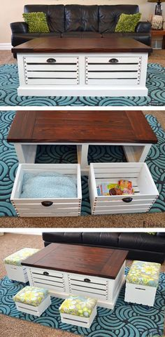 Crate Storage Coffee Table and Stools Add storage to your living areas by building a stylish and unique crate storage coffee table free woodworking plans. The post Crate Storage Coffee Table and Stools appeared first on Woodworking Diy. Decoration Palette, Build A Coffee Table, Diy Storage Coffee Table, Wooden Crate Coffee Table, Coffee Table Toy Box, Diy Wood Table, Wood Crate Diy, Diy Storage Ottoman, Wood Pallet Tables
