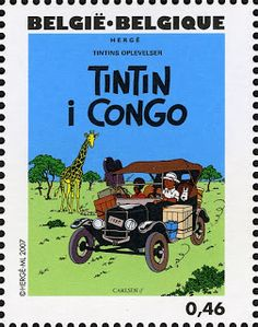 Literary Stamps: Hergé (1907-2007)   Tintin in Congo!