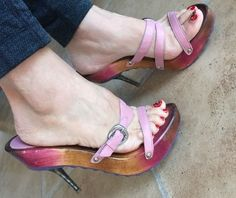 Nina Simoni Pink Leather Slide Platforms Size 9 NWOB Made In Brazil   Clothing, Shoes & Accessories, Women's Shoes, Heels   eBay!