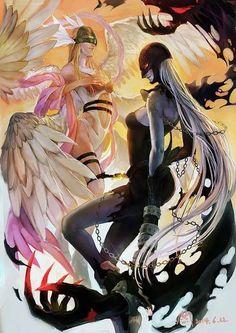 Angewomon versus Ladydevimon from Digimon Anime Anime Sexy, Bd Comics, Anime Comics, Digimon Tattoo, Original Anime, Digimon Adventure Tri., All Out Anime, Manga Anime, Digimon Wallpaper