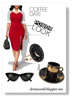 A fashion look from February 2018 featuring knee-length dresses, ring and cat-eye glasses. Coffee Date, Get The Look, Sunday, Bodycon Dress, Formal Dresses, Friends, Polyvore, Style, Fashion