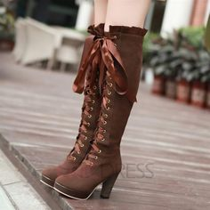 European Lace-up Suede Knight Knee High Boots Knee High Boots