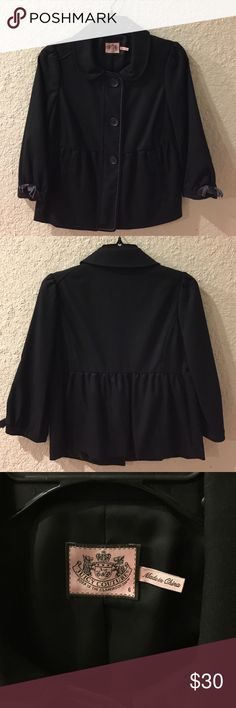Juicy Couture Black Blazer/Jacket Sz 6 Like new condition. Dark gray velvet trim. Velvet bow on sleeve. Fully lined. 3/4 sleeve. Shell - 97% Wool, 3% Spandex.  Lining - 100% Rayon. Juicy Couture Jackets & Coats Blazers