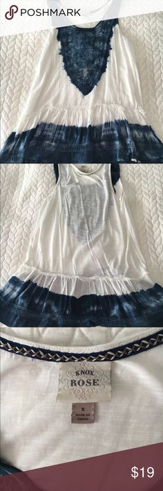 Knox and Rose tie-dye ruffle bottom tank This adorable Knox and Rose tie-dye shirt is in perfect condition. Worn once. Blue and white with embroidery on the top neckline. Tops Tank Tops