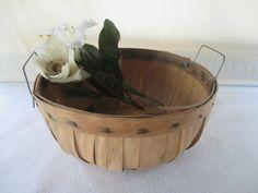 Harvest Basket Round Vintage Garden Flower by HobbitHouse on Etsy