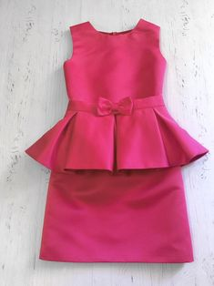 Hot pink pageant interview dress with peplum and belt/ Peplum dress/ Girl Interview outfit/ Pageant wear/ Custom pageant dresses - Pageant Dresses - Ideas of Pageant Dresses Girls Frock Design, Kids Frocks Design, Baby Frocks Designs, Baby Dress Design, Baby Girl Frocks, Frocks For Girls, Dresses Kids Girl, Kids Outfits Girls, Dress Girl