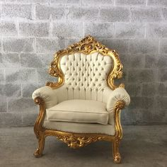 Antique Italian Rococo *1 Chair Left*Tufted White Leather Fauteuil Bergere Wingback Gold Leaf Gild Silver Nail Heads Baroque Louis XVI