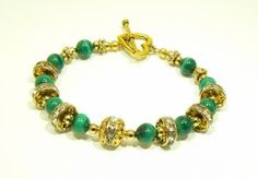 Green Malachite and Swarovski Crystal Bracelet  This is also my high school colors! :D