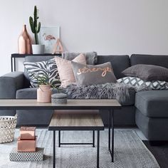 """""""Find your favorites for your home at ellos.com #elloshome #livingroom #sofa #pillows #table #carpet"""""""