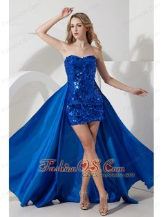 Detachable Royal Blue Prom Dress Mini-length Sequin- $147.38  http://www.fashionos.com  Shining like a star! This magnificant short dress features a strapless sweetheart neckline and the whole dress wraps dazzling sequince which makes you more saucy. A detachable flowing train adds the elegant look of the dress and a hidden zipper up back complets a gorgerous silhouette. Looking like a million!