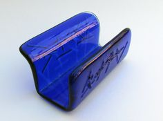 Blue Business Card Holder, Fused Glass Business Card Display, Cobalt Blue Desk Decoration