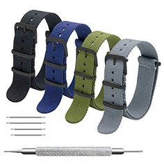 f704e103b6a Amazon.com  CIVO NATO Strap 4 Packs - 16mm 18mm 20mm 22mm 24mm Premium  Ballistic Nylon Watch Bands Zulu Style with Stainless Steel Buckle  Sports    Outdoors