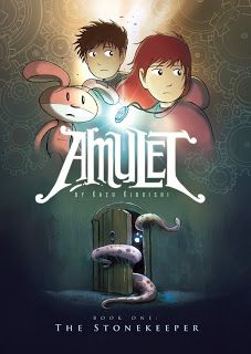 Amulet: The Stonekeeper, Kazu Kibuishi  This graphic novel series is the gateway drug to reading for kids who are reluctant readers.