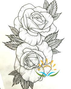 ▷ 1001 + Ideen und inspirierende Bilder zum Thema Rosen Tattoo - - ▷ 1001 + Ideen und inspirierende Bilder zum Thema Rosen Tattoo Malen und zeichnen here are rose tattoo template here are two large white rose tattoos with black leaves Rose Drawing Tattoo, Tatoo Art, Diy Tattoo, Tattoo Sketches, Tattoo Drawings, Drawing Pin, Tattoo Moon, Flower Drawings, Drawing Base