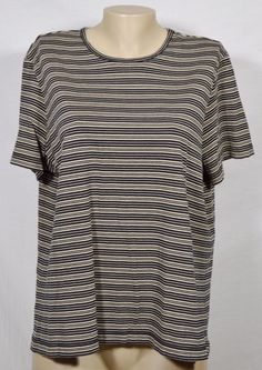 LANDS' END Black/Beige Striped Tee Top XL Short Sleeves 100% Cotton Unlined…