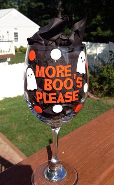 Planning a Halloween party or just looking for something cute to drink from on Halloween? This More Boos Please wine glass is perfect to drink Holidays Halloween, Halloween Diy, Halloween Decorations, Happy Halloween, Halloween Stuff, Halloween Pumpkins, Diy Funny Halloween Costumes, Halloween Party Ideas For Adults, Halloween Crafts To Sell