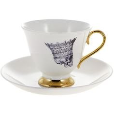 Melody Rose Skull In Crown Tea Cup & Saucer ($49) ❤ liked on Polyvore