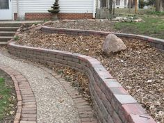 Retaining Wall finished Wall Finishes, Retaining Walls, Log Homes, Paths, Sidewalk, House Ideas, Floor Plans, Backyard, Outdoors
