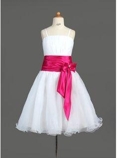 Robes de Petites Filles Ligne-A/Princesse Sans bretelles Longeur à mi jambe Organza  Satin Robes de Petites Filles avec Ondulé  Bretelle (010005774)