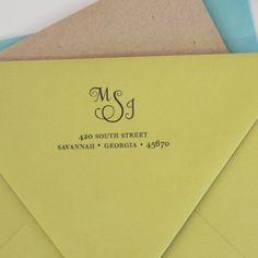 Custom return Address Stamp MONOGRAM. $32.00, via Etsy.