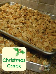 Simple Fare, Fairly Simple: Christmas Crack Half recipe do 5 cups of each cereal Köstliche Desserts, Delicious Desserts, Yummy Food, Plated Desserts, Chex Mix Recipes, Snack Recipes, Candy Recipes, Fudge Recipes, Dessert Recipes