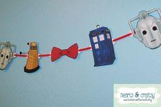 Doctor Who Party Banner TARDIS DALEK Cybermen by HeartsandCraftsy