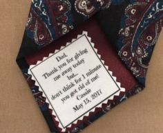 """Our new CUTE SAYING Father of the Bride Wedding Tie Patch!!  """"Dad thank you for giving me away today but...don't think for 1 minute you got rid of me!"""" #weddingaccessories #personalizedpatches #fatherofthebride #weddingtiepatches"""