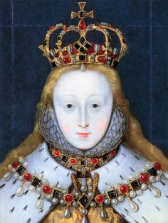 Young Elizabeth I in her coronation robes, patterned with Tudor roses and trimmed with ermine. January 1559 she was crowned at Westminster Abbey at age Elizabeth I, Tudor History, British History, Corona Real, Isabel I, Elizabethan Era, Tudor Dynasty, King Henry Viii, Tudor Era