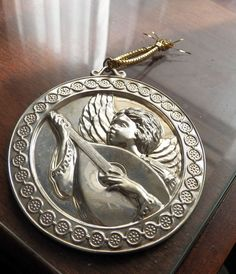 1993 Gorham Archive Sterling Silver Ornament Angel With Mandolin Ex. Used Con.