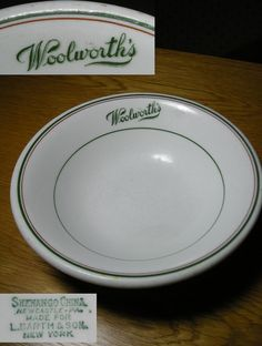 Shenango #Woolworth's lunch counter soup #bowl. Reminds me of my Grandma who retired from the Woolworth's Co.