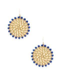 Round Filigree Drop Earrings /  KEP / Rs.3371  (18K yellow gold-plated base metal round filigree drop earrings with navy glass bead details.14K yellow gold-filled base metal fishhook closure)