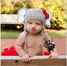 Crochet Baby Hat elephant hat halloween costume photo props handmade baby hat