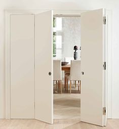 Internal room dividers create openness and bring light into the room. Double pocket door is suitable for wide wall openings. Glazed bi fold doors have a very practical design Trendy Door, Elegant Doors, Room Ambiance, Folding Doors, Room Divider Doors, Interior Barn Doors, Bifold Doors, Folding Doors Interior, Modern Door Hardware