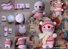 How to: Make a teddy bear from a pair of socks! #crafts #handmade #craft