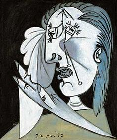 "Pablo Picasso Weeping Woman's Head with Handkerchief - Postscript of ""Guernica"", 1937 Museo Reina Sofia Picasso Guernica, Kunst Picasso, Picasso Art, Picasso Paintings, Picasso Woman Painting, Picasso Drawing, Spanish Painters, Spanish Artists, Oil Canvas"