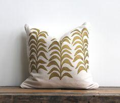 Metallic gold & off-white handprinted organic hemp pillow cover 20x20. $70.00, via Etsy.