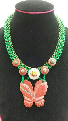 2 color green macrame necklace with red jasper