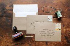 Molly + Jeff's Rustic Calligraphy Wedding Invitations