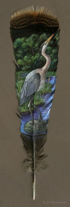 Gorgeous Animal Portraits Painted on Wild Turkey Feathers by Connecticut-based artist, illustrator, and jewelry maker Brenda Lyons crafts gorgeous portraits of creatures on an unconventional surface. Turkey Feathers, Bird Feathers, Painted Feathers, Feather Painting, Feather Art, Parrot Feather, Feather Crafts, Blue Heron, Gourd Art