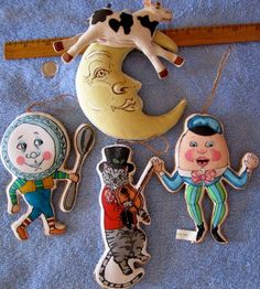 Vintage nursery rhyme characters cloth fabric hanging baby room decor vintage Etsy