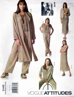 Vogue Sewing Pattern 2148 ADRI Wardrobe Modeled by Melania Trump Duster Dress, Vogue Sewing Patterns, Dressmaking, Designer Dresses, Jackets For Women, Size 12, Womens Fashion, Model, Pants