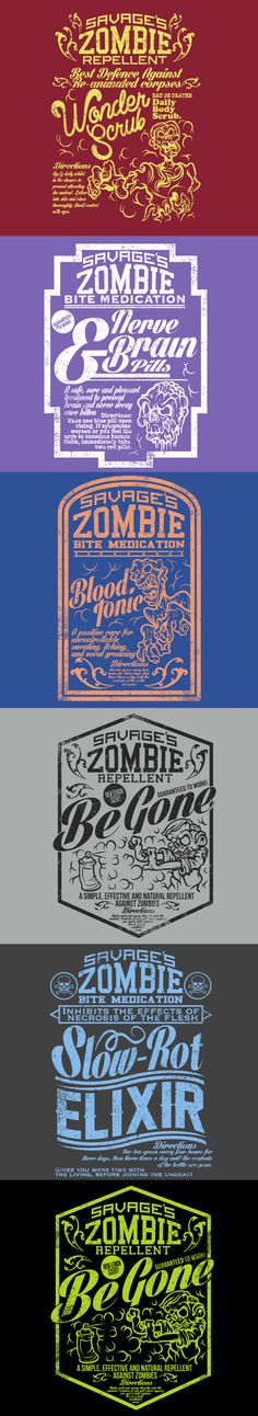 """VINTAGE ZOMBIE T-SHIRTS by Undead Apparel by RedLab Projects — Kickstarter. Undead Apparel is a new clothing brand kicking off with the """"Savage's Remedies Collection"""", a line of t-shirts showcasing designs of vintage-style medicines and treatments for use in a Zombie Apocalypse."""