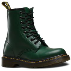 Dr. Martens Leather 1460 Boots (575 RON) ❤ liked on Polyvore featuring shoes, boots, green, anti slip shoes, leather shoes, dr martens shoes, narrow shoes and green boots