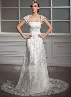 A-Line/Princess Square Neckline Court Train Lace Wedding Dress With Ruffle Beading Sequins (002004755) - JJsHouse