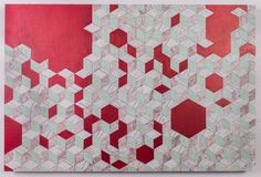 """24"""" X 36"""" X 1.5 Necker Cube mixed media Map Collage on wood panel"""