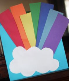 A rainbow craft to display made after doing a rainbow SCAVENGER HUNT with clues! A fun activity for St Patrick's Day!
