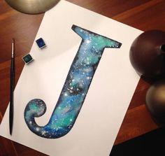Personalised watercolour letter wall art original