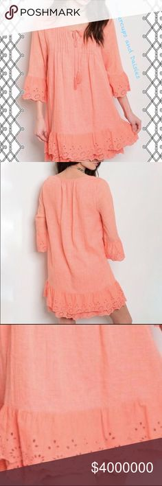 🎉COMING SOON🌼Coral Crochet Bell Sleeve Dress Dress features 3/4 length bell sleeves. Tie neck closure with tassels. 75% polyester 25% rayon Boutique Dresses