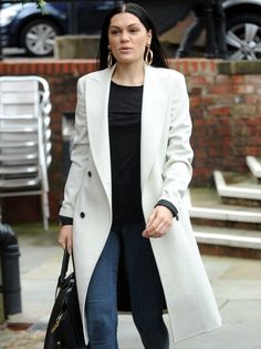 Fancy going a little sophisticated? This long white coat is perfect if you want something smart.
